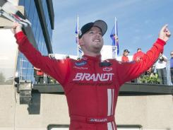 Justin Allgaier celebrates his first road course win of his career, at Circuit Gilles Villeneuve in Montreal on Saturday.