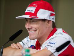 Ducati Marlboro Team's Nicky Hayden smiles during a press conference Thursday at Indianapolis.