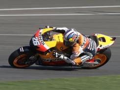 Dani Pedrosa races to a win in Sunday's Red Bull Indianapolis GP.