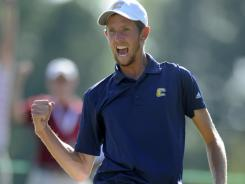Steve Fox reacts to winning the 37th hole of the U.S. Amateur golf tournament Sunday at Cherry Hills.