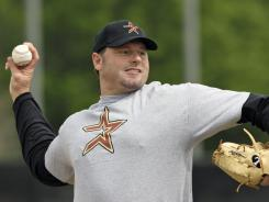 Roger Clemens, pitching for the Astros during spring training batting practice in 2008, will return to the mound with the independent Sugar Land Skeeters. But could his ultimate destination be Houston and the major leagues?