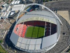 Aerial view of Wembley Stadium in London.