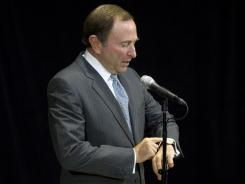 NHL Commissioner Gary Bettman speaks to reporters after collective bargaining talks last week.