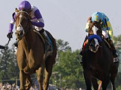 Bodemeister, right, ridden by Mike Smith in this year's Preakness Stakes, finished second in the Preakness and Kentucky Derby to I'll Have Another, left.