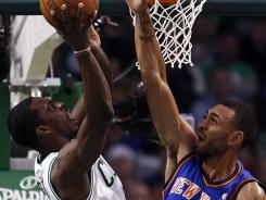 Celtics forward Jeff Green shoots over Knicks forward Jared Jeffries during a first-round playoff game April 19, 2011.