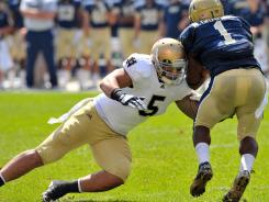 Notre Dame linebacker Manti Te'o, tackling Pitt's Ray Graham last season, is eighth on the school career tackles chart. At his current pace, he could finish as high as third.