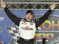 Timothy Peters celebrates after a dominating Truck Series victory Wednesday at Bristol Motor Speedway.