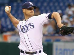Rays starter Alex Cobb gave up four hits and struck out eight Athletics to earn his first big-league shutout.