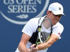 Sam Querrey of the USA lines up a backhand during his victory Thursday Alexandr Dolgopolov of Ukraine in the quarterfinals of the Winston-Salem Open.