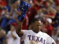 Adrian Beltre acknowledges the crowd after his seventh-inning cycle to wrap up his cycle.
