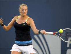 Petra Kvitova, of the Czech Republic, hits a forehand during her 6-1, 6-3 victory over Sara Errani, of Italy, in their semifinal match at the New Haven Open.