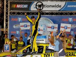 Joey Logano celebrates after the win.