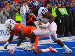 "TCU's Josh Boyce (82) said of playing a Big 12 schedule: ""It will be real interesting to see how we stack up."""
