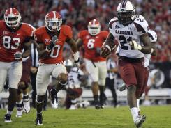 South Carolina fans are undoubtedly looking forward to breakaway runs like this one last year against Georgia from Marcus Lattimore has he recovers from last season's knee injury.