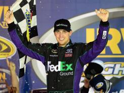 Denny Hamlin celebrates his third win of 2012. He also won at Phoenix and Kansas.