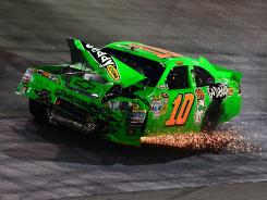 Danica Patrick's mangled No. 10 Chevrolet limps around Bristol Motor Speedway after a lap 435 accident.