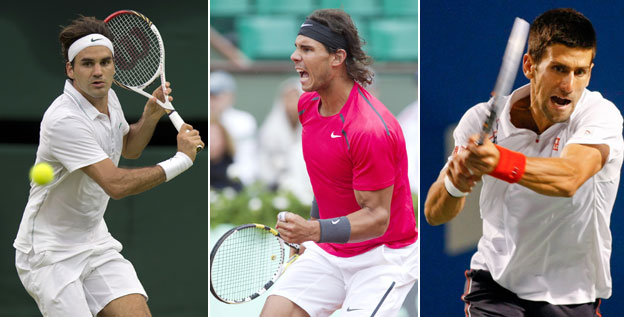 Switzerland's Roger Federer, left, Spain's Rafael Nadal, center, and Serbia's Novak Djokovic have combined to win 29 of the last 30 majors.