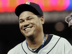 Seattle Mariners pitcher Felix Hernandez smiles after shutting out the Twins.