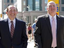 Commissioner Gary Bettman, left, and deputy commisioner Bill Daly will be the NHL's lone representatives at Tuesday's talks.