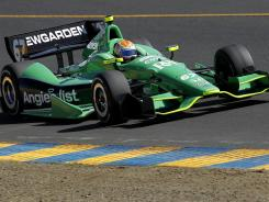 Josef Newgarden broke his left index finger in a frightening crash with Sebastien Bourdais in Sunday's race at Sonoma, Calif.