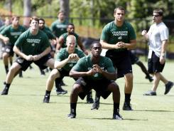The Charlotte 49ers college football team practiced for the first time on Monday.