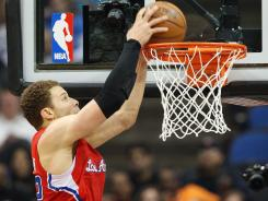 Clippers forward Blake Griffin dunks vs. the Timberwolves on April 12.