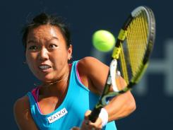 Vania King of the USA lines up a backhand during her loss Tuesday to friend and doubles partner Yaroslava Shvedova of Kazakhstan.