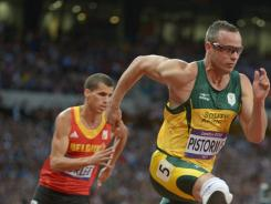 Oscar Pistorius of South Africa competes in the men's 400-meter semifinals during the 2012 London Olympics on Aug. 5.