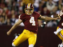Billy Cundiff's deep drives on kickoffs could be one reason the Redskins let Graham Gano (4) go.