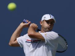Andy Roddick follows through on a backhand during his straight-sets victory Tuesday against fellow American Rhyne Williams.