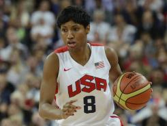 Angel McCoughtry, shown Aug. 11 vs. France, played for the U.S. Olympic women's basketball team before returning to the WNBA's Dream.