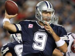 The Cowboys' Tony Romo, throwing a pass