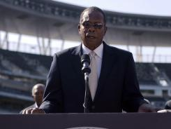 Former Twins player Rod Carew addresses the media as the announcement is made for the location 2014 All-Star Game in Minneapolis.