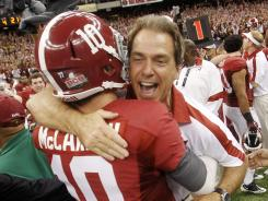 Alabama coach Nick Saban and quarterback A.J. McCarron celebrated a national title in January, but quickly turned attention to preventing a letdown in 2012.