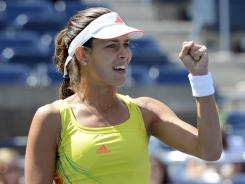 Ana Ivanovic of Serbia pumps her fist after a winner Thursday during her second-round victory against Sofia Arvidsson of Sweden.