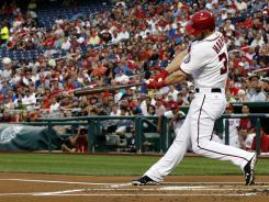 Bryce Harper connects on a two-run homer during the first inning.
