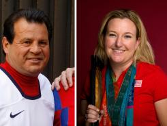 These file photos show U.S. Olympians, from left, 1980 U.S. Olympic men's hockey captain Mike Eruzione in 2009, Olympic shooter Kim Rhode and speedskater Derek Parra after setting a world record in the men's 1500 at the 2002 Salt Lake City Games.