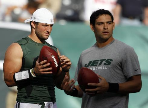 Tim Tebow, left, and Jets starting QB Mark Sanchez have been friends ...