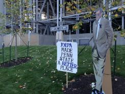 This makeshift Paterno memorial was outside Beaver Stadium on Friday.