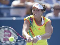 Laura Robson of Britain lines up a backhand during her victory against Li Na of China to reach the fourth round of a major for the first time.