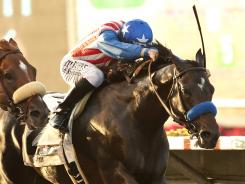 Fed Biz and jockey Joseph Talamo overpower Jimmy Creed to win the $100,000 El Cajon Stakes on Friday. Fed Biz' victory gave trainer Bob Baffert his 100th stakes win at Del Mar, most by a trainer in track history.