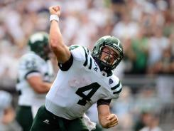 Ohio quarterback Tyler Tettleton celebrates after rushing for a touchdown in the third quarter against Penn State.