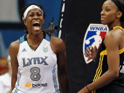 Lynx forward Taj McWilliams-Franklin reacts after being fouled in a 92-83 win vs. the Shock.