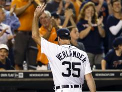 Tigers ace Justin Verlander waves to the crowd after leaving Sunday's 4-2 win vs. the White Sox. Verlander pitched eight innings, allowing one run and striking out 11.