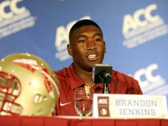 Florida State's Brandon Jenkins, seen here at ACC Media Day in July, suffered a season-ending foot injury on Saturday.