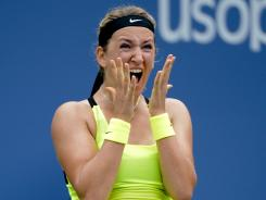 Victoria Azarenka of Belarus, the No. 1 seed, celebrates her victory Tuesday against defending champion Sam Stosur of Australia.