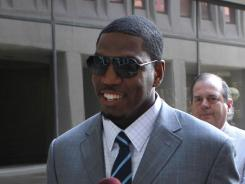 Suspended New Orleans Saints linebacker Jonathan Vilma, shown here on July 26, 2012, is one of four players arguing that he will suffer irreparable harm if he is forced to miss games while his case against the league proceeds.