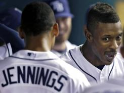 B.J. Upton, right, celebrates with Desmond Jennings after both hit fifth-inning home runs off Yankees starting pitcher Freddy Garcia.