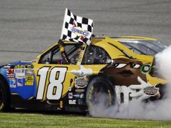 Kyle Busch hopes to be replicating the victory burnout he did at Richmond in April.
