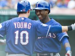 Rangers infielder Jurickson Profar, celebrating Sunday with Michael Young after homering, likely won't play much down the stretch. But he'll be someone to remember in next season's fantasy drafts.